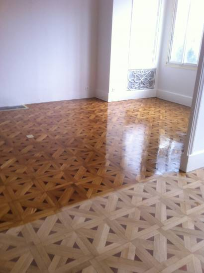 R novation d 39 un parquet vitrifi parquet et terrasse en for Parquet renovation